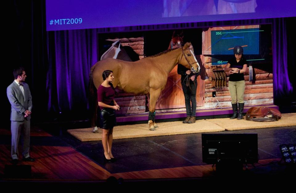 Another one of the devices unveiled at the show takes the temperature of a horse's leg.
